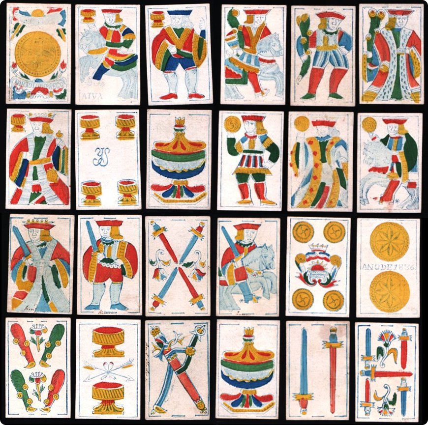 40-card Spanish-suited woodblock and stencil pack made in Mexico by Bartolo Borrego, 1836