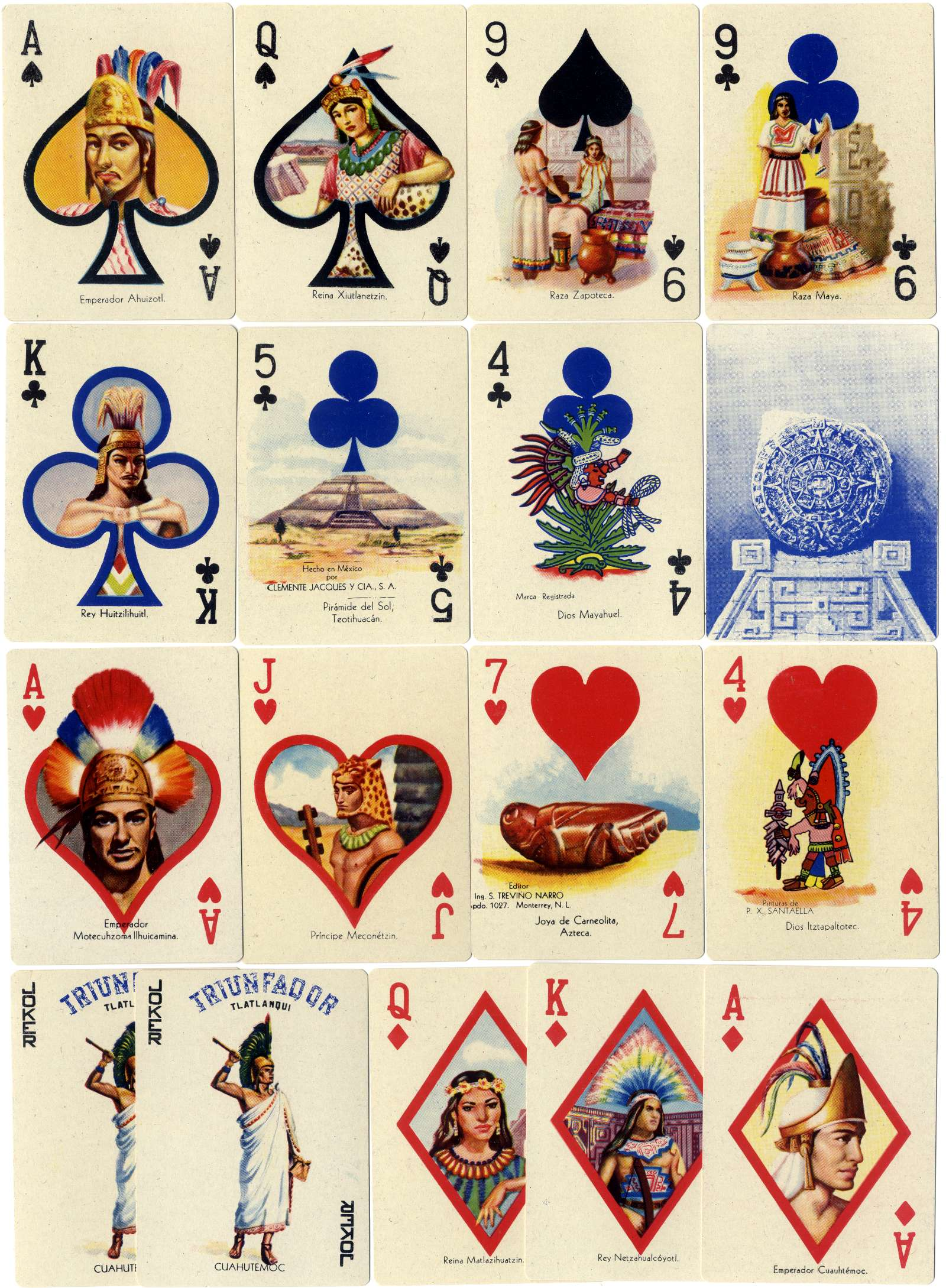 Aztec Playing cards - Baraja Cuauhtémoc, Mexico, c.1950