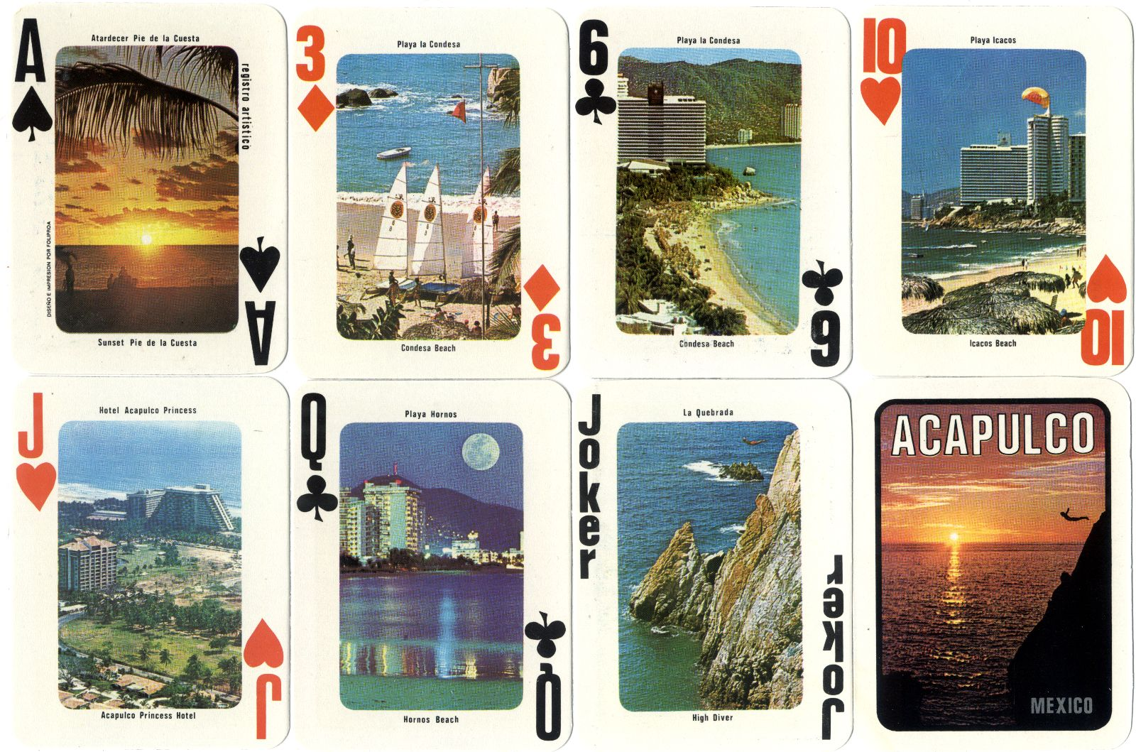 Acapulco Souvenir playing cards designed and printed by Foliproa, Mexico