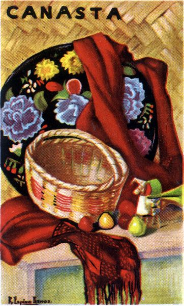 painting by Ramón Espino Barros (1918-2000) on the reverse of a double Canasta set printed by Clemente Jacques y Cia., S.A., Mexico, c.1950