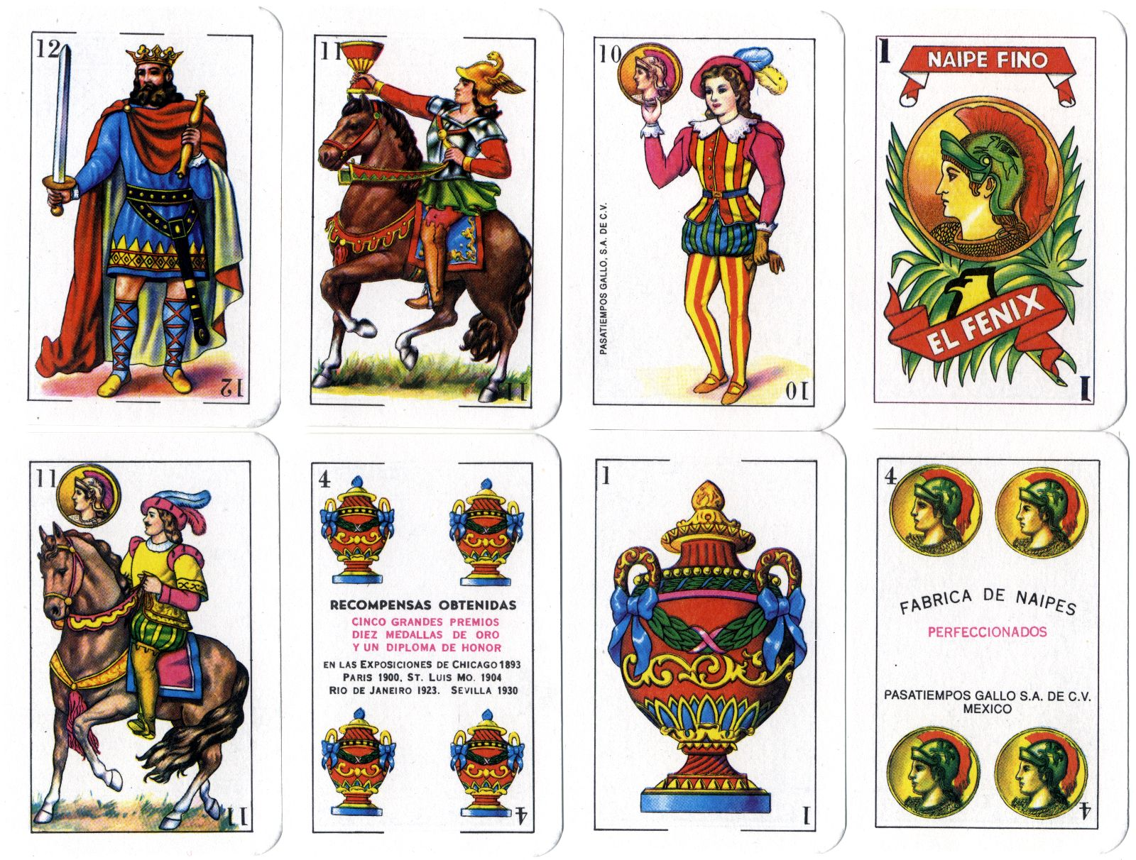 El Fenix playing cards by Pasatiempos Gallo S.A. Mexico c.2000