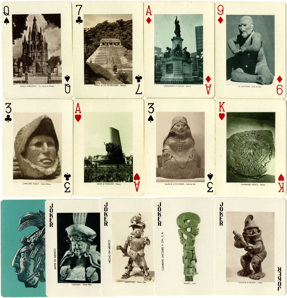 Souvenir of Mexico playing cards by Clemente Jacques y Cia, S.A.
