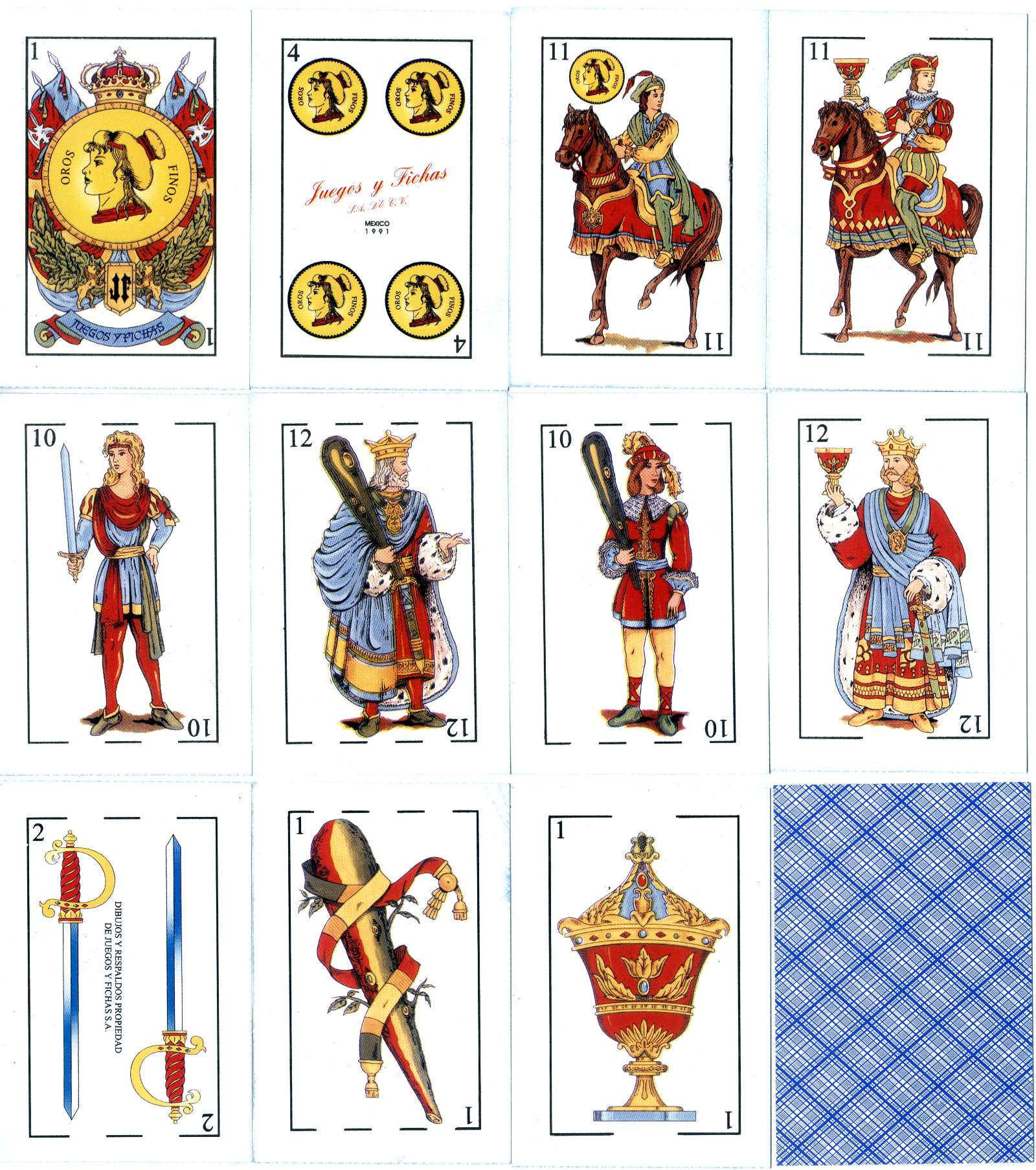 Spanish-suited playing cards made by Juegos y Fichas, S.A. de C.V., Mexico, 1991