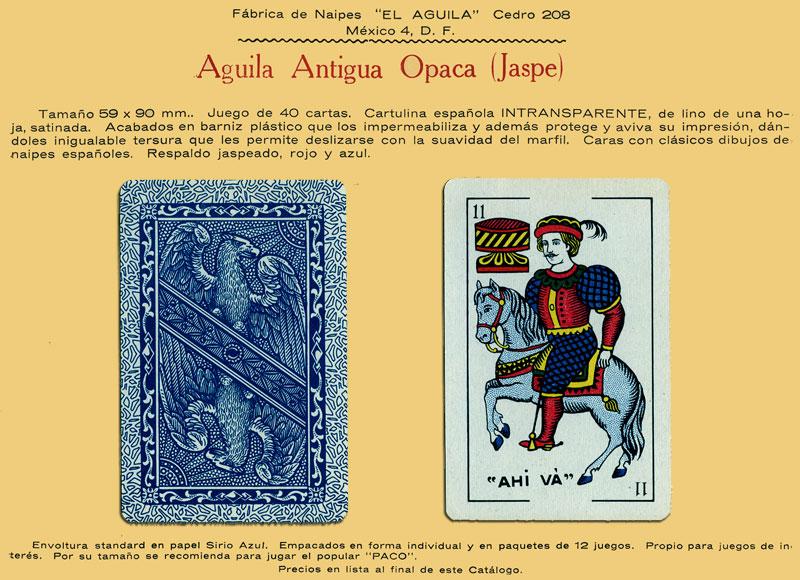 Naipes Aguila Antigua Opaca (Jaspe), c.1960