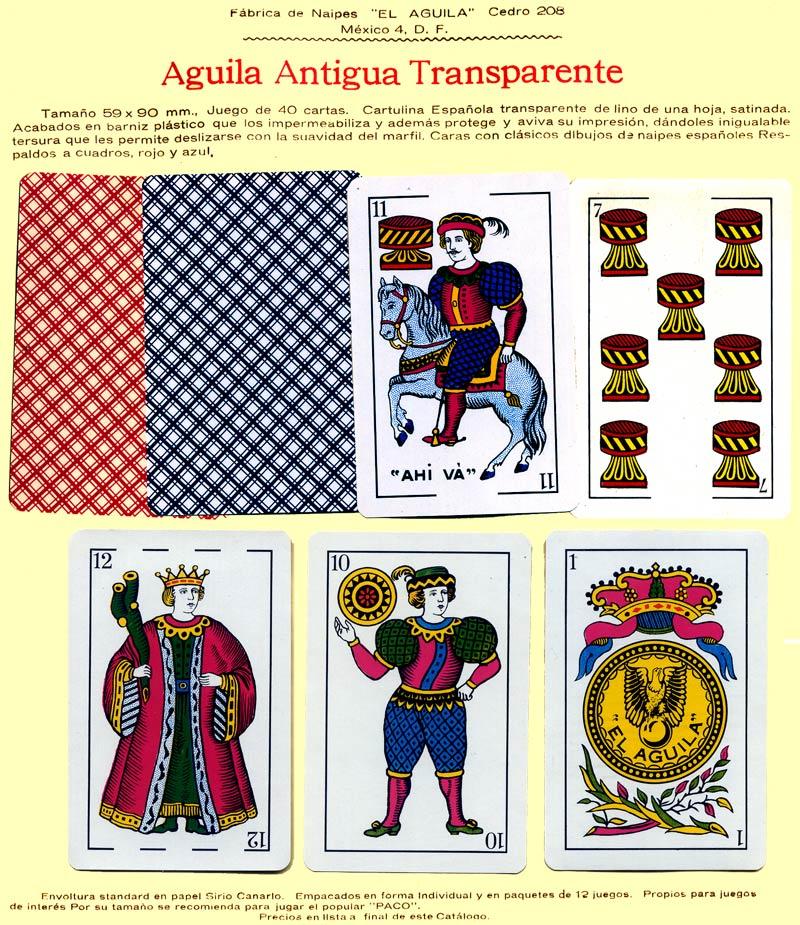 Naipes Aguila Antigua Transparente, c.1960