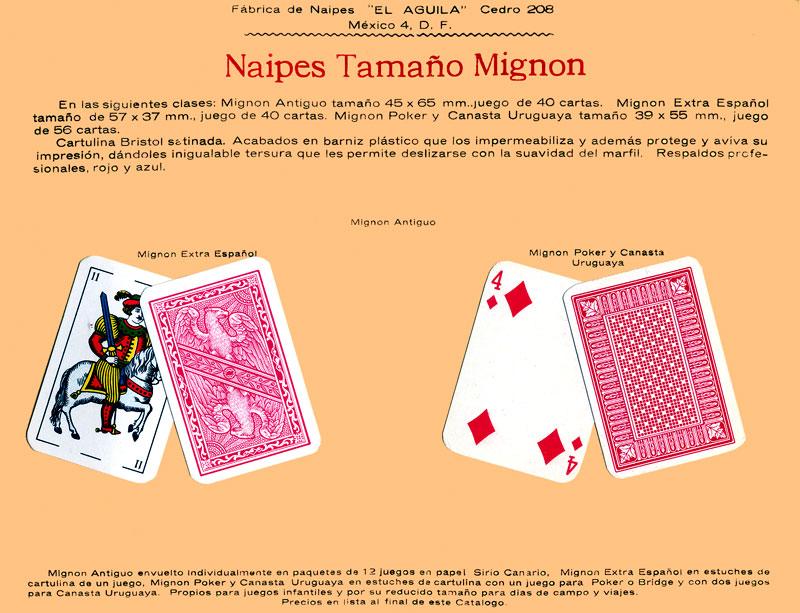 Naipes tamaño Mignon, c.1960