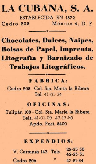 La Cubana - Fabrica de Naipes El Aguila, Mexico - Establecida en 1872
