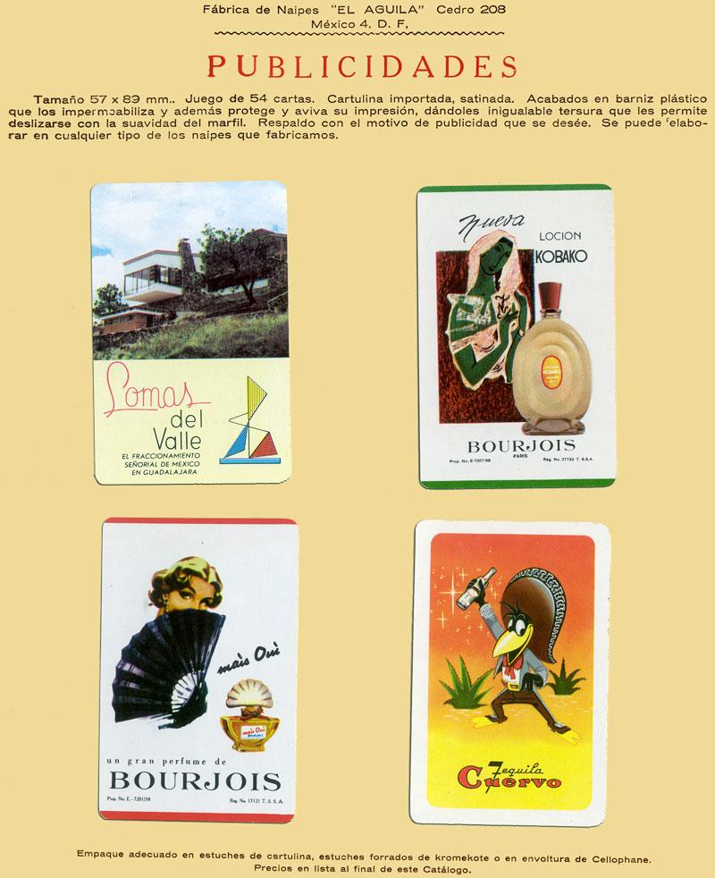 Advertising playing-cards by Naipes La Cubana, Mexico, c.1960