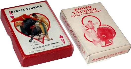 boxes from different editions of Baraja Taurina designed by Carlos Ruano Llopis, Mexico