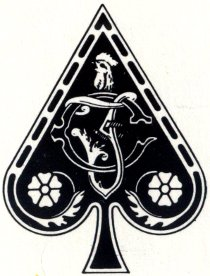 detail of Ace of Spades from Naipes Cassino de Don Clemente, Pasatiempos Gallo S.A., Mexico, c.1988