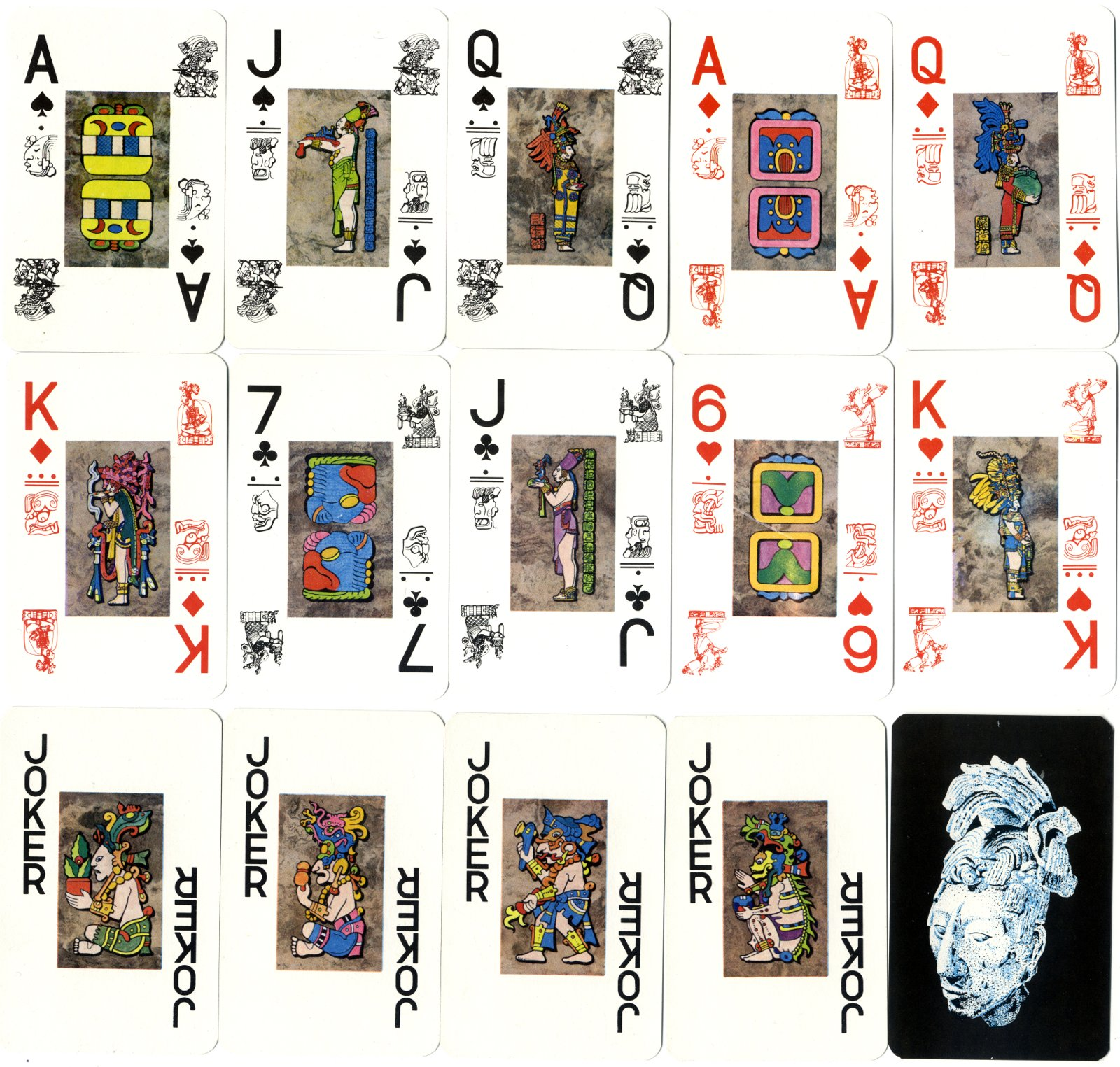 Maya Playing Cards (Naipe Tipo Maya) manufactured in Mexico by Pronaco S.A. de C.V., 1991