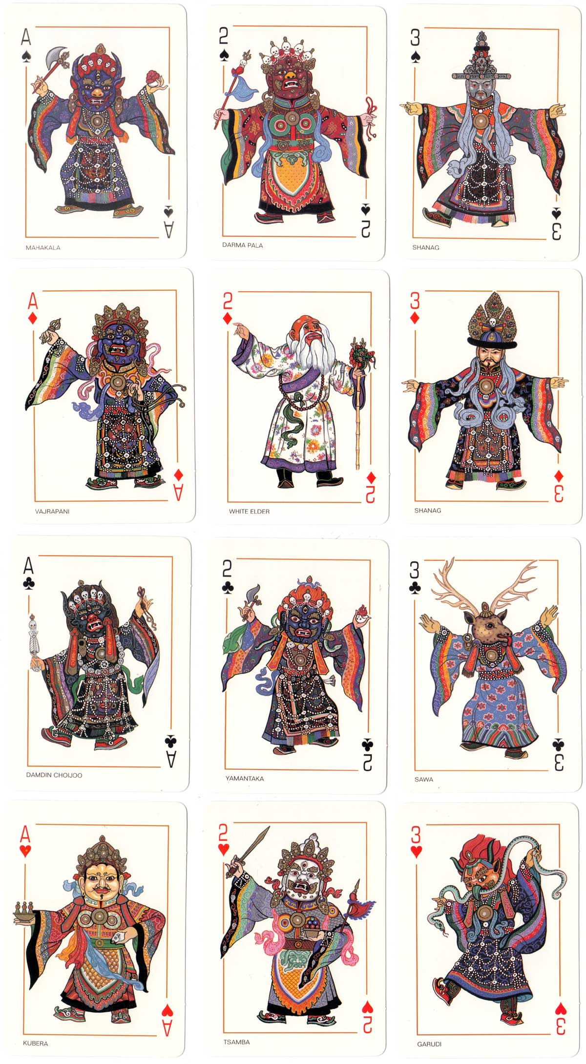Mongolian Religious Mask Dancing playing cards, c.2010