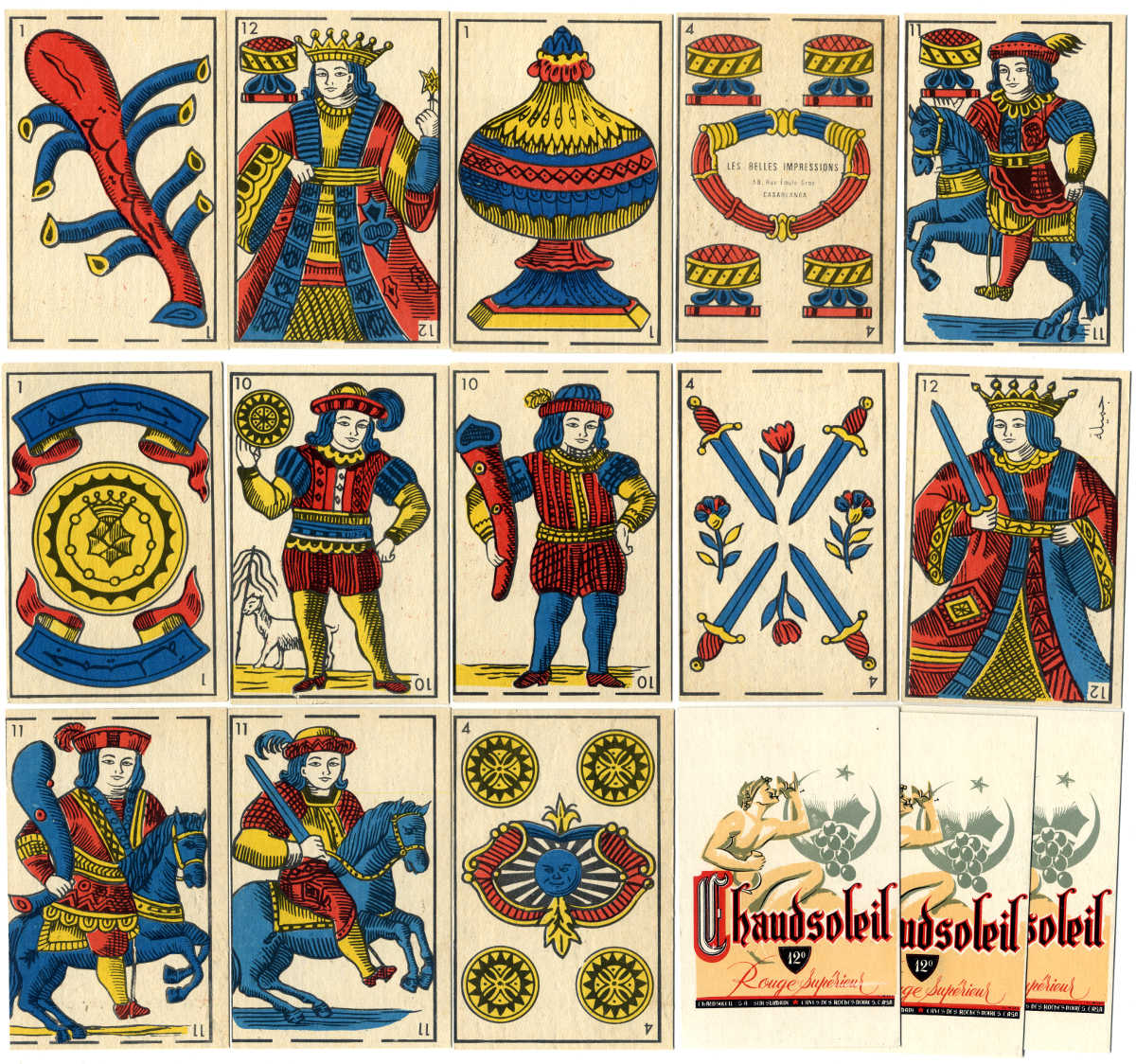 Spanish-suited playing-cards with advertising for Chaudsoleil red wine, manufactured by Imprimerie Belles Impressions, S.A., Casablanca, Morocco