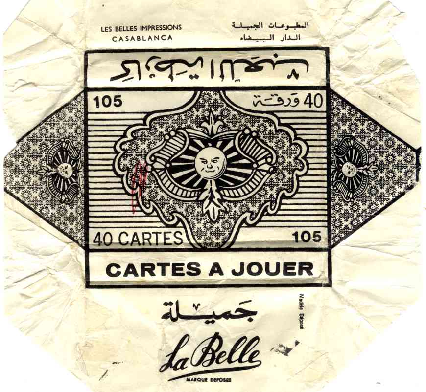 wrapper from Spanish-suited playing-cards with advertising for Chaudsoleil red wine, manufactured by Imprimerie Belles Impressions, S.A., Casablanca, Morocco