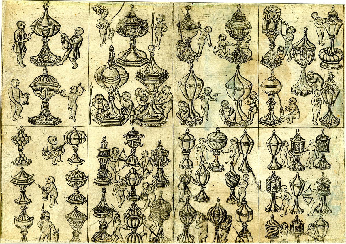 an uncut sheet of eight playing cards by the Master of the Banderoles, c.1470. ©The Trustees of the British Museum. All rights reserved.