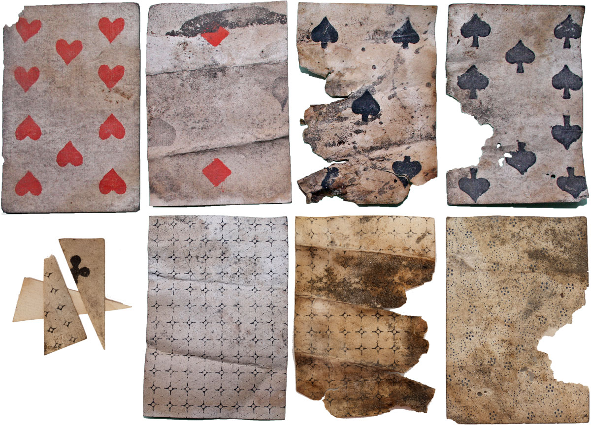 five fragmentary playing cards discovered under the floorboards