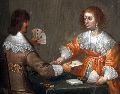 "detail from ""Man and Woman Playing Cards"" painting by Dutch artist from the circle of Anthoine Palamedesz (1601-1673)"
