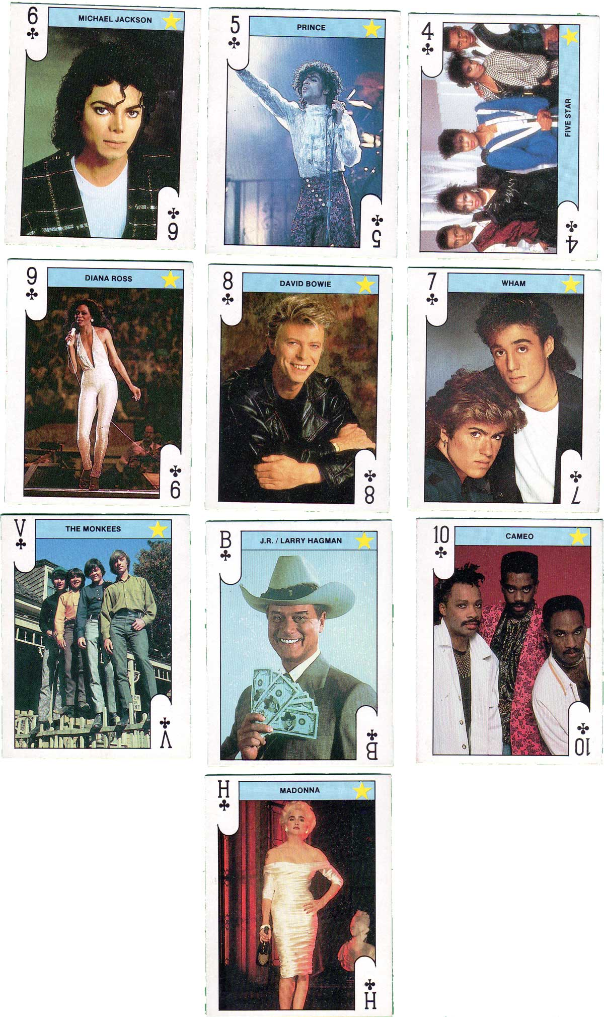 'Stars Play' card set published by Monty Gum, Leiden, 1988