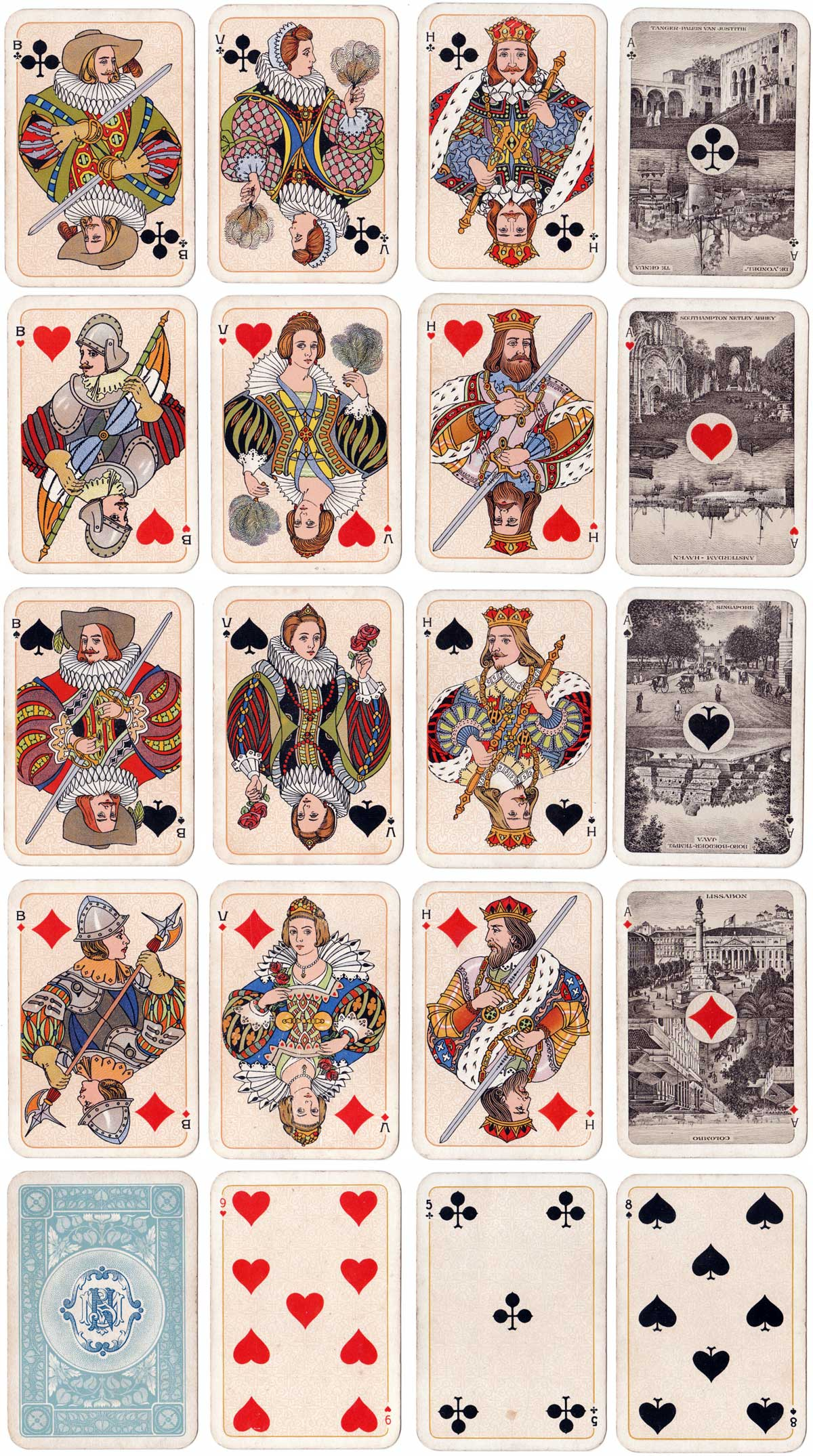 Stoomvaart Maatschappij Nederland shipping line playing cards produced by Nederlandse Speelkaarten Fabriek, c.1910