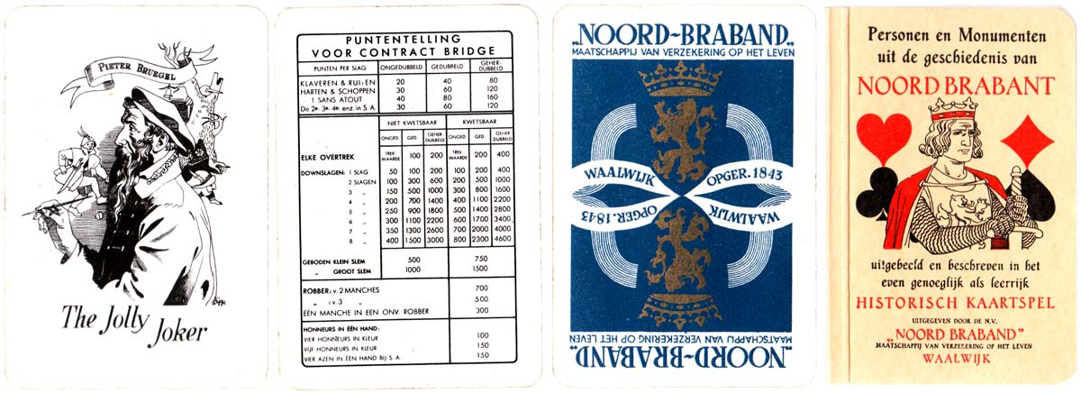 """Historical Playing Cards"" published by Northern Brabant Insurance Society and manufactured by Speelkaartenfabriek Nederland in 1943"