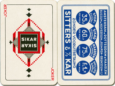 the Joker and the Back design, Sikar playing cards, 1935