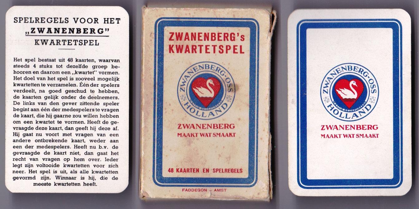 Zwanenberg's Kwartetspel printed by Speelkaartenfabriek Nederland, 1938