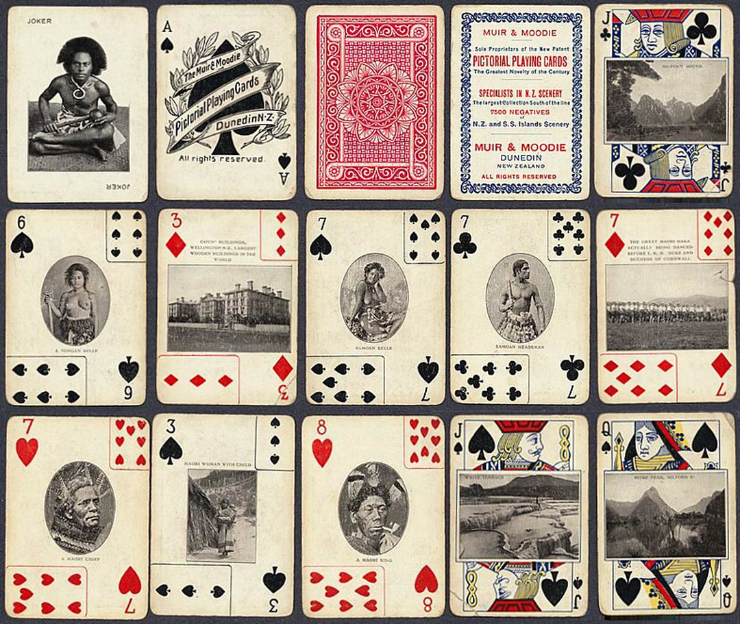 Muir & Moodie Pictorial playing cards, New Zealand, c.1903