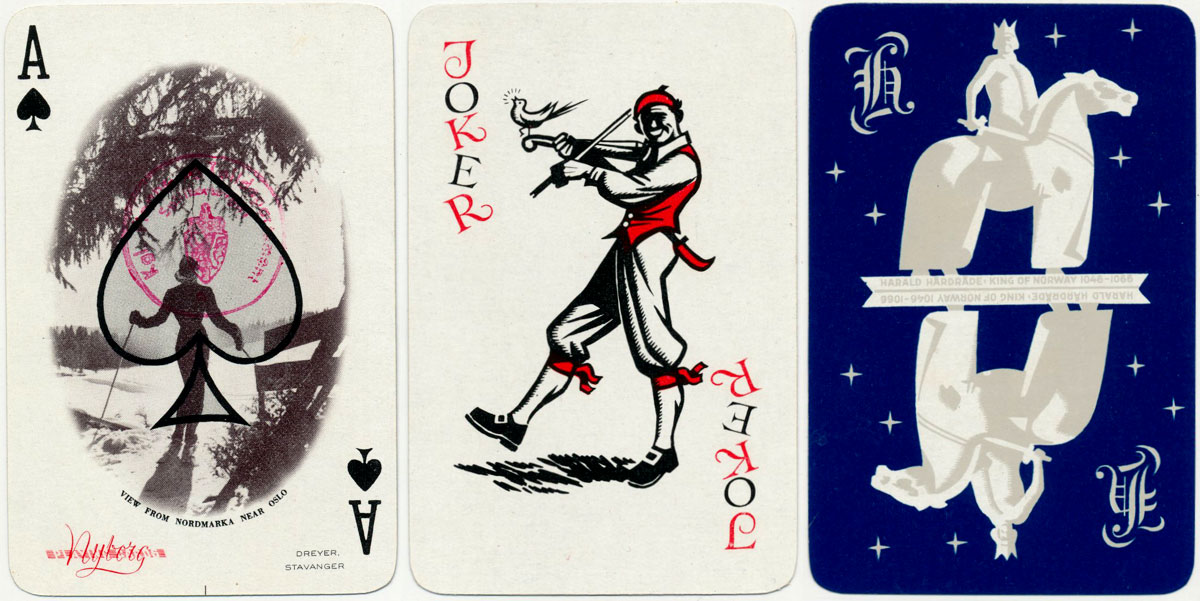 Views of Norway's Beauty Spots Souvenir playing cards published by Nyborg in collaboration with Oslo Travel Association, 1950s
