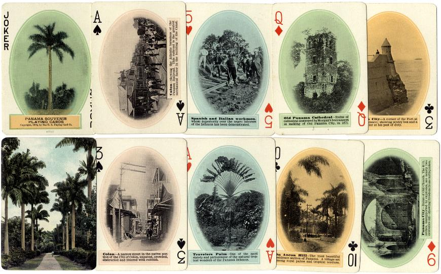 Cards from the 1908 edition of Panama Souvenir Playing Cards, manufactured by the U.S. Playing Card Co., Cincinnati, U.S.A.