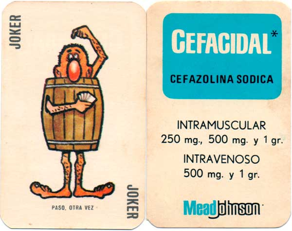 Cefacidal pharmaceutical advertising playing cards, Peru c.1975