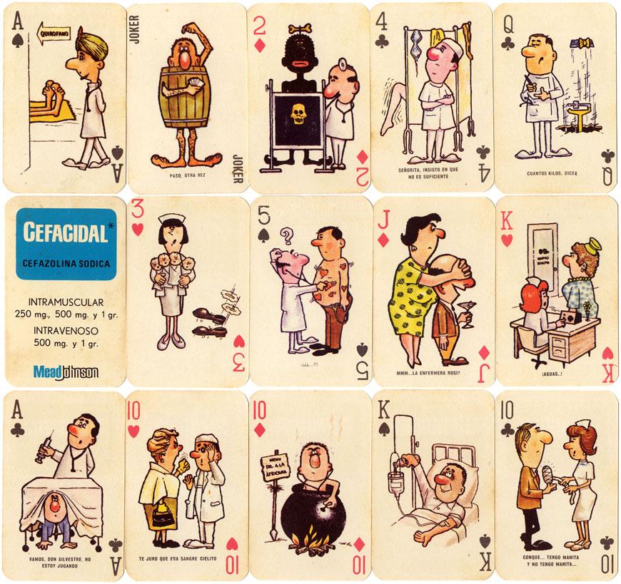 Cefacidal advertising playing cards, Peru c.1975