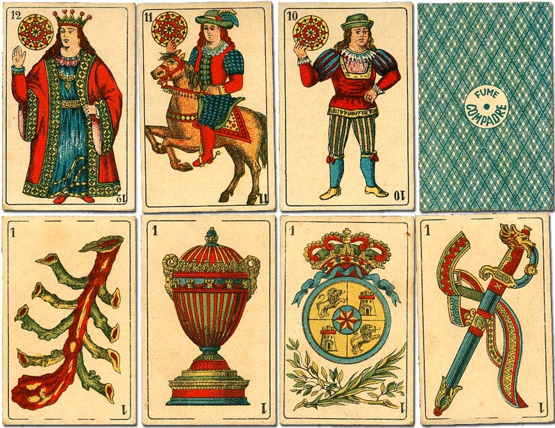 Spanish-suited playing cards printed for Cigarrillos Compadre, Lima, Peru, early 1900s