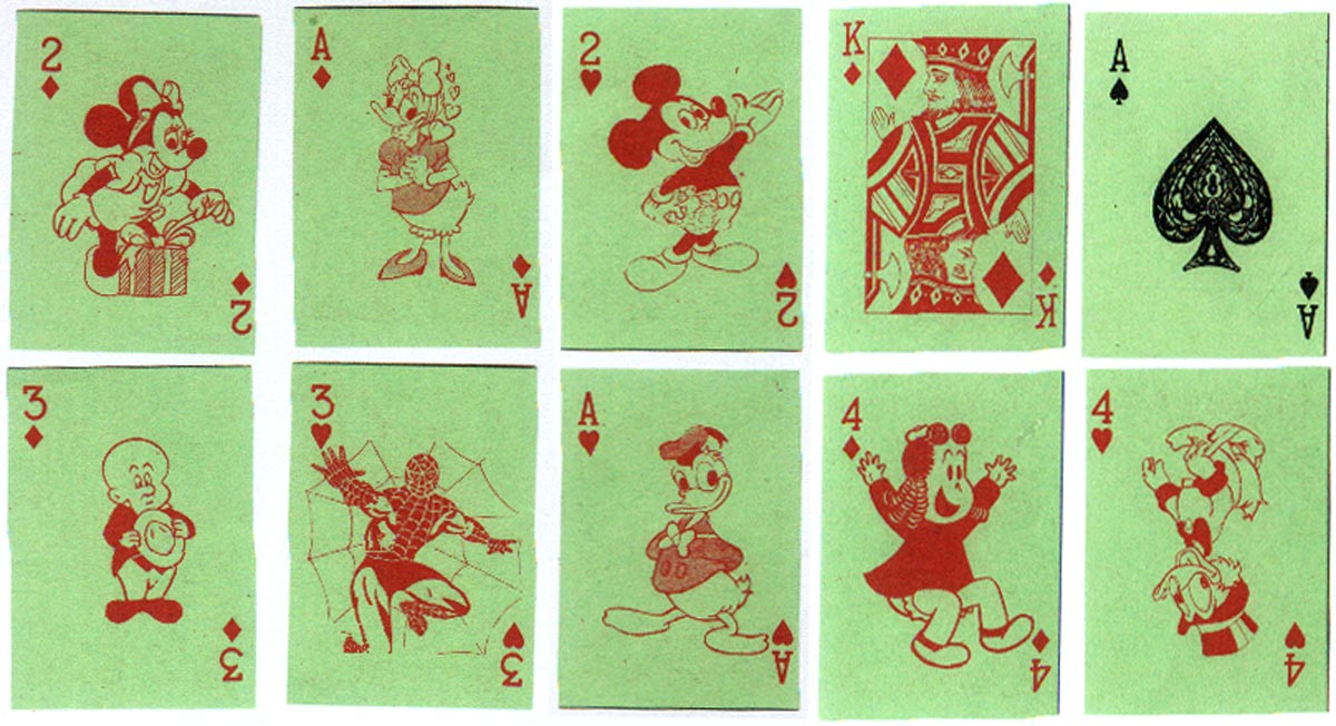 Anonymous children's Walt Disney characters playing cards