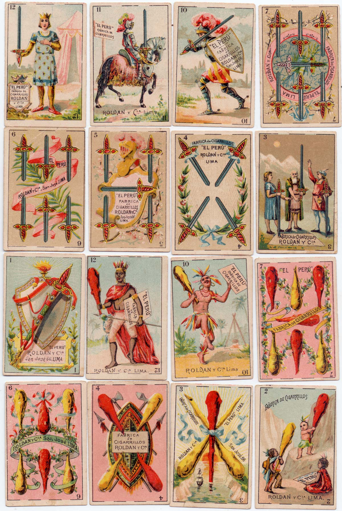 Cards from a fantasy publicity pack for the Peruvian tobacco company Roldan y Cia, San José 66, Lima. c.1890