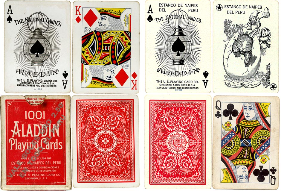 Aladdin playing cards manufactured by The US Playing Card Co for the Estanco de Naipes del Peru, 1940s