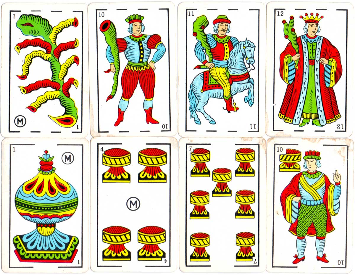 Spanish-suited playing cards printed for the Estanco de Naipes del Perú, c.1960