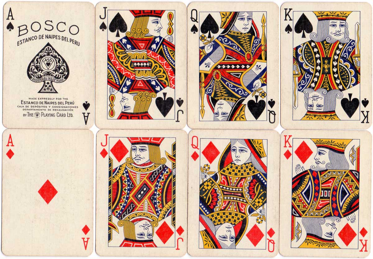 Playing cards manufactured by A.S.S. for the Estanco de Naipes del Peru, 1930s