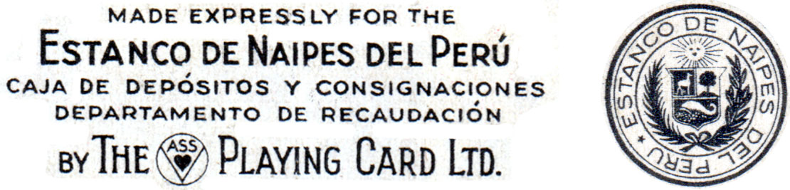 Playing-cards manufactured by A.S.S. for the Estanco de Naipes del Peru, 1930s