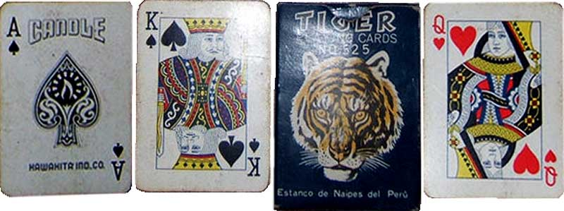 Candle playing cards manufactured for the Estanco de Naipes del Peru, Hawahita Ind. Co