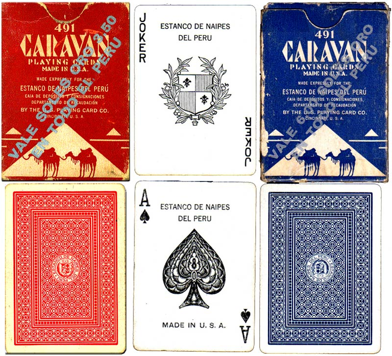 Caravan playing cards manufactured by The US Playing Card Co for the Estanco de Naipes del Peru, 1960s