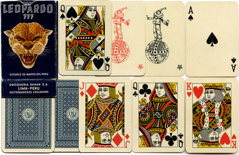LEOPARDO 777 playing cards manufactured in Japan for the Estanco de Naipes del Peru, 1960s