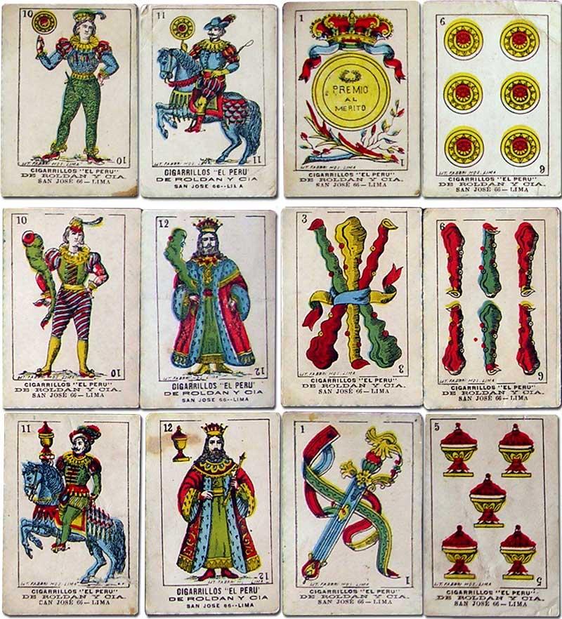 insert playing cards for El Perú cigarettes printed by Litografía Fabbri, Lima, Peru, c.1895