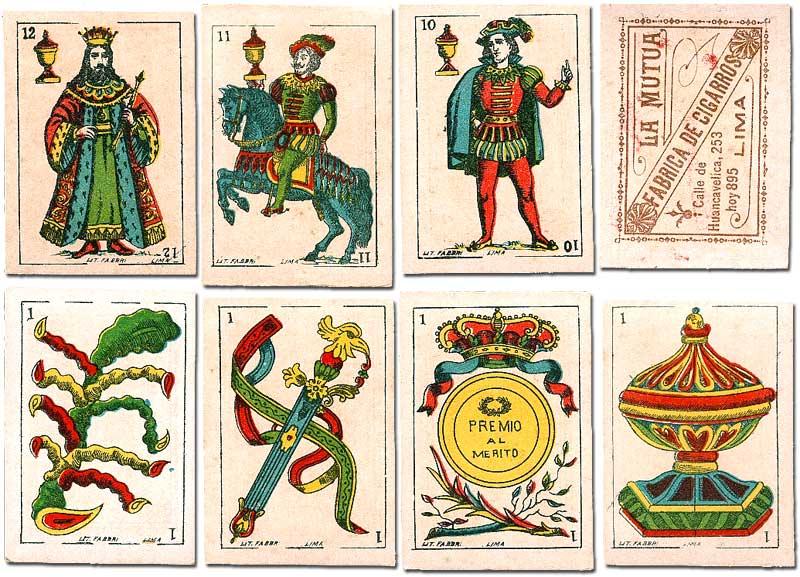 cigarette insert playing cards for La Mutua tobacco company printed by Litografía Fabbri, Lima, Peru, c.1900