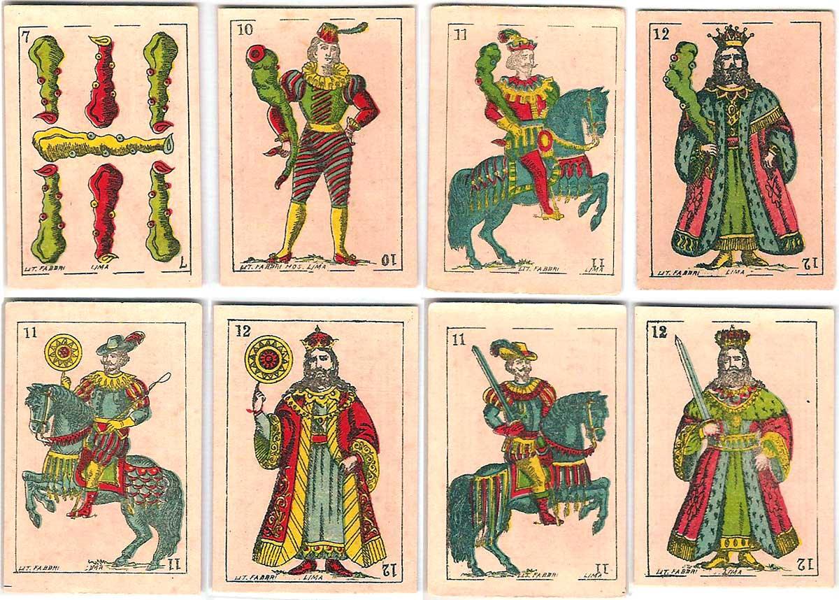 cigarette insert playing-cards for La Mutua tobacco company printed by Litografía Fabbri, Lima, Peru, c.1900