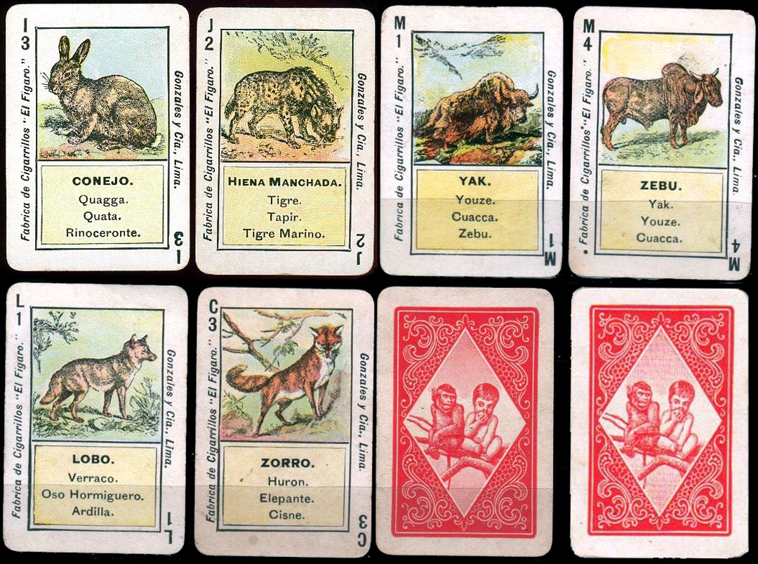 Animals Quartet playing cards printed for Cigarrillos El Figaro, Peru, early 1900s