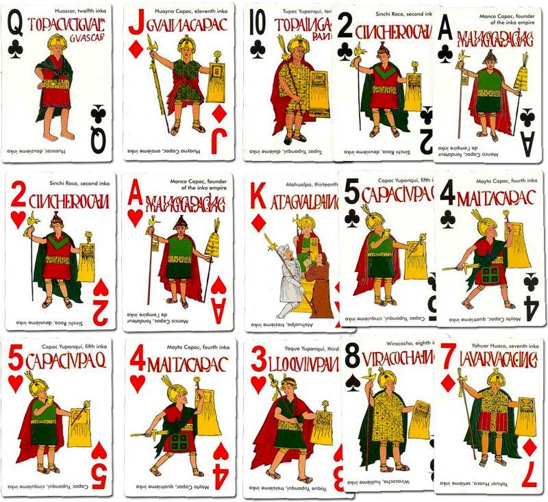 Inka-Dynasty playing cards based on 16th century designs by Guamán Poma, Peru