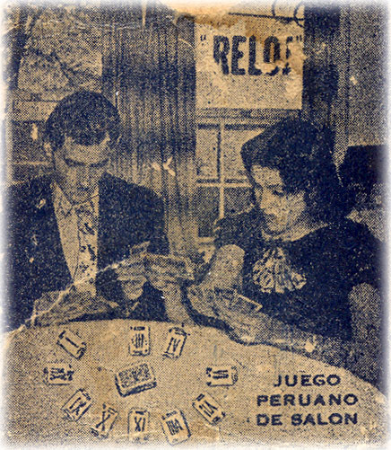 Back of the box from El Reloj card game manufactured by Imprenta Lecaros, Lima, Peru, c.1920