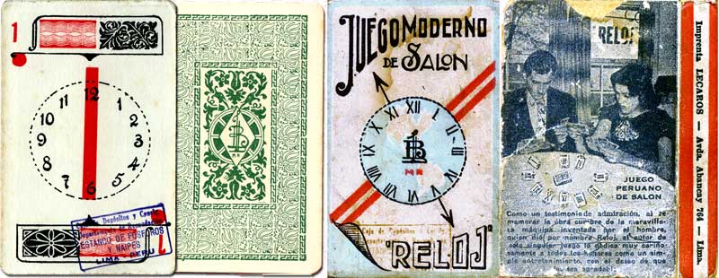Box and card from El Reloj card game manufactured by Imprenta Lecaros, Lima, Peru, c.1920
