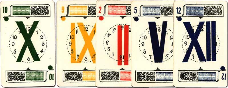Cards from El Reloj card game manufactured by Imprenta Lecaros, Lima, Peru, c.1920