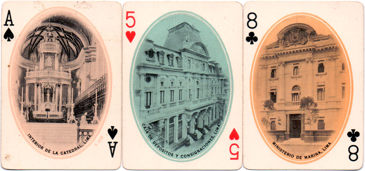 'Vistas de Lima' souvenir of Peru playing cards made by Standard Playing Card Co., Chicago, c.1910